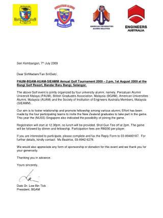 Dato Dr. Low Bin Tick President, BGAM
