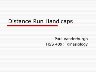 Distance Run Handicaps