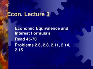 Econ. Lecture 3