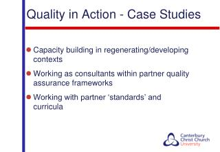 Quality  in Action - Case  Studies