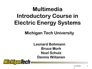 Multimedia Introductory Course in  Electric Energy Systems