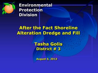 After the Fact Shoreline Alteration Dredge and Fill Tasha Golis District # 3