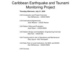 Caribbean Earthquake and Tsunami Monitoring Project