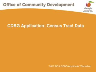 CDBG Application: Census Tract Data