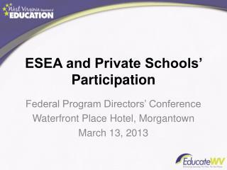 ESEA and Private Schools' Participation