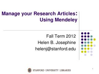 Manage your Research Articles :  Using  Mendeley
