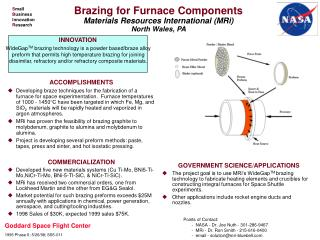 Brazing for Furnace Components Materials Resources International (MRi) North Wales, PA