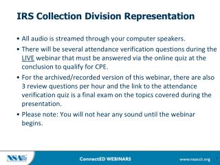 IRS Collection Division  Representation