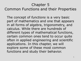 Chapter 5 Common Functions and their Properties
