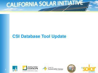 CSI Database Tool Update