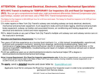 Inspector Road Car Inspector(NewYorkCityTransit)(NewYorkCity NY)