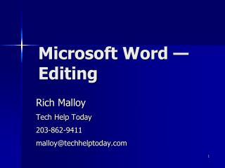 Microsoft Word  �  Editing