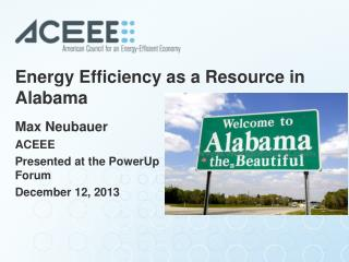 Energy Efficiency as a Resource in Alabama