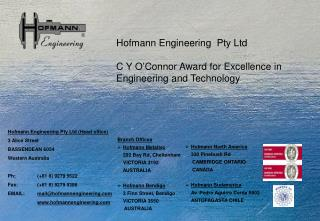 Hofmann Engineering  Pty Ltd C Y O'Connor Award for Excellence in Engineering and Technology