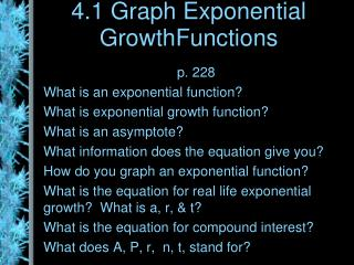 4.1 Graph Exponential GrowthFunctions