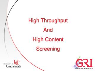 High Throughput And High Content Screening