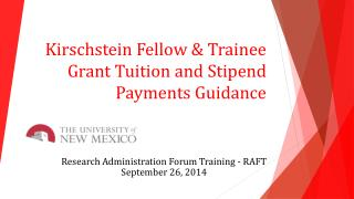 Kirschstein Fellow & Trainee Grant Tuition and Stipend Payments Guidance