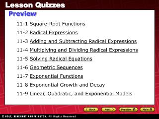 11-1  Square-Root Functions 11-2  Radical Expressions