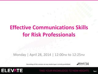 Effective Communications Skills  for Risk Professionals