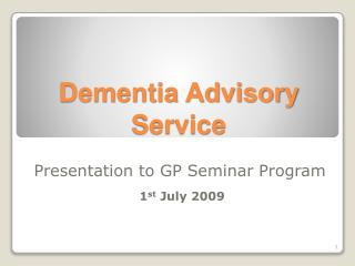 Dementia Advisory Service