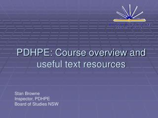PDHPE: Course overview and useful text resources