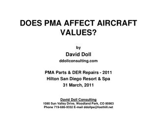 DOES PMA AFFECT AIRCRAFT VALUES?