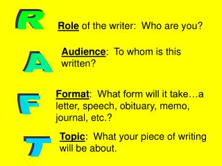 Role  of the writer:  Who are you?