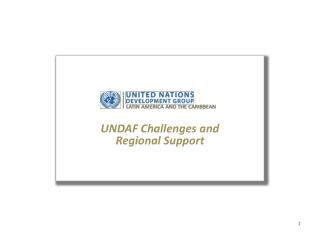 UNDAF Challenges and  Regional Support