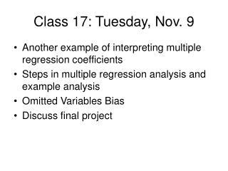 Class 17: Tuesday, Nov. 9