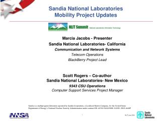 Sandia National Laboratories Mobility Project Updates