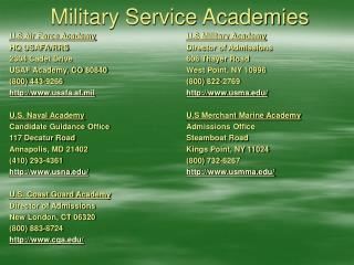 Military Service Academies
