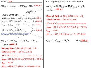 Mg (s)   +   ½O 2(g)  →  MgO (s) D H= _____