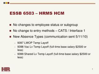 ESSB 6503 – HRMS HCM