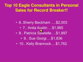 Top 10 Eagle Consultants in Personal Sales for Record Breaker!!