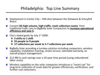 Philadelphia:  Top Line Summary
