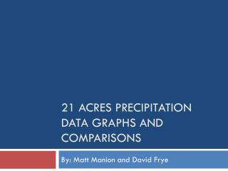 21 Acres Precipitation Data Graphs and Comparisons