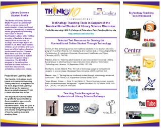 Technology Teaching Tools in Support of the  Non-traditional Student: A Library Science Discourse