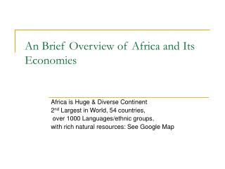 An Brief Overview of Africa and Its Economies