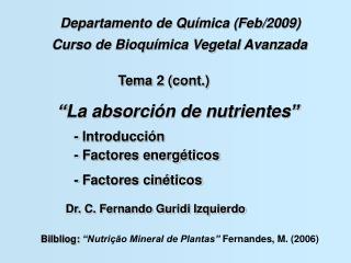 Curso de Bioqu ímica Vegetal Avanzada
