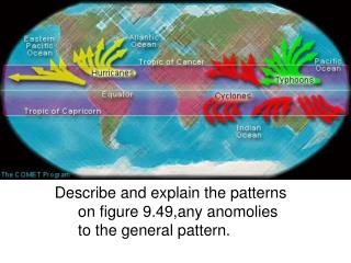 Describe and explain the patterns on figure 9.49,any anomolies to the general pattern.