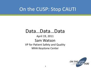 Data…Data…Data April 19, 2011 Sam Watson  VP for Patient Safety and Quality  MHA Keystone Center