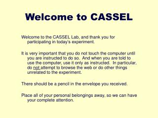 Welcome to CASSEL