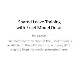 Shared Leave Training with Excel Model Detail