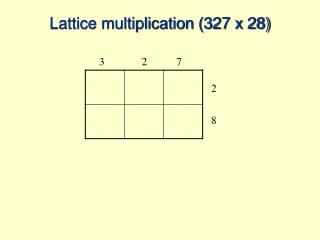 Lattice multiplication (327 x 28)