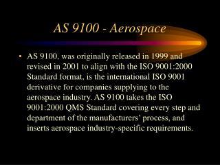 AS 9100 - Aerospace