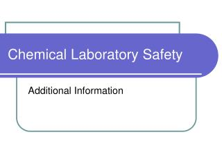 Chemical Laboratory Safety