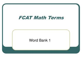 FCAT Math Terms