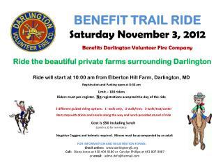 Ride will start at 10:00 am from Elberton Hill Farm, Darlington, MD