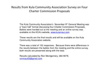 Results from Kula Community Association Survey on Four Charter Commission Proposals