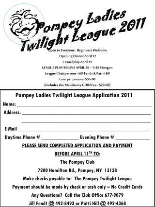 Pompey Ladies Twilight League Application 2011
